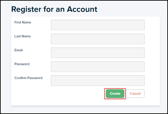 register for an account form