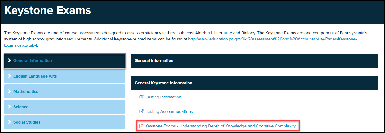 keystone exams screen with topic and document highlighted