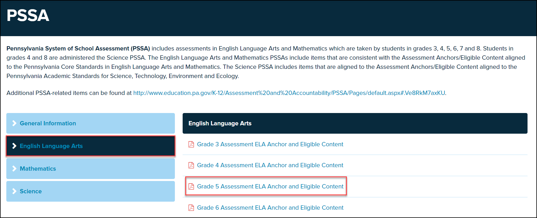 PSSA screen with a topic and document highlighted