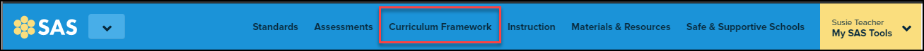 SAS site header with curriculum framework button highlighted