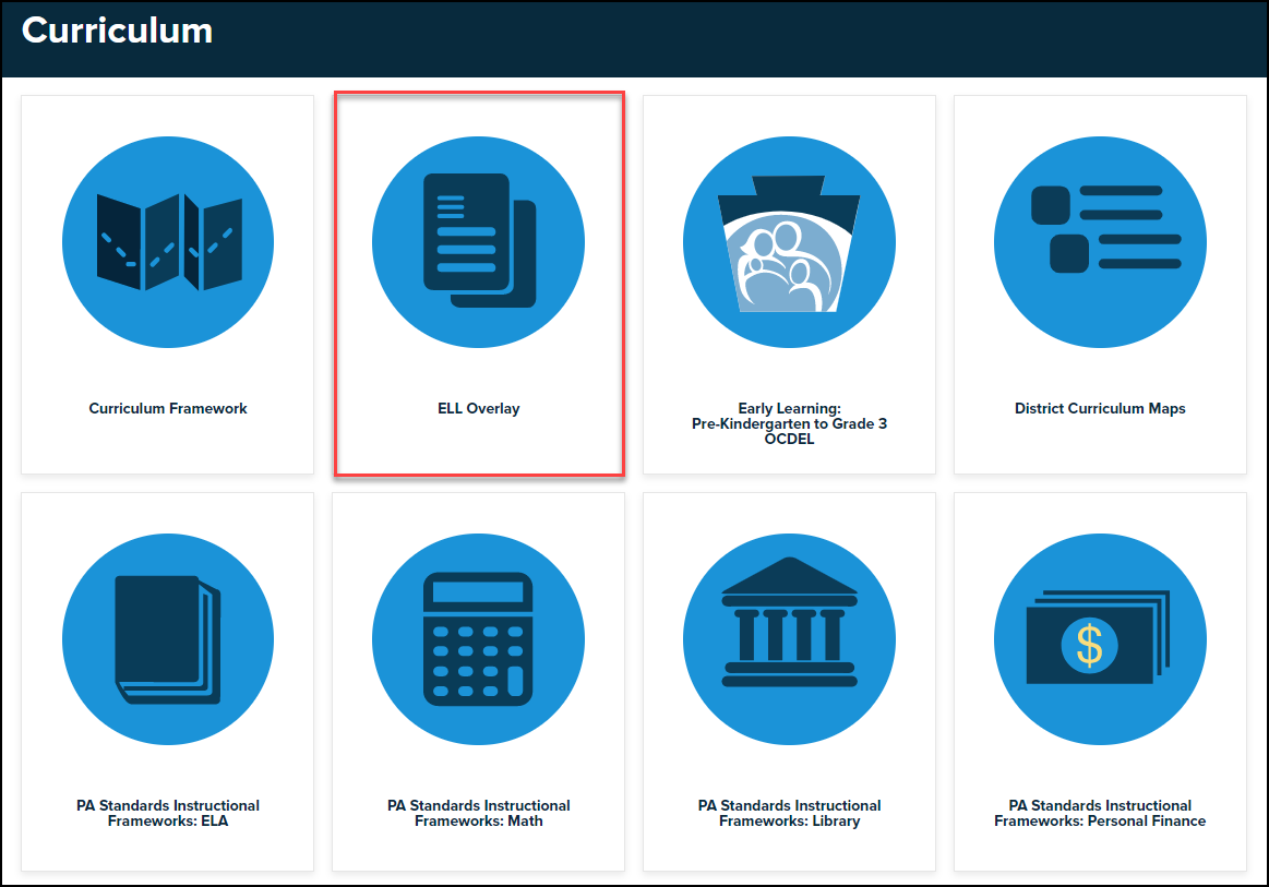curriculum menu with ELL overlay button highlighted