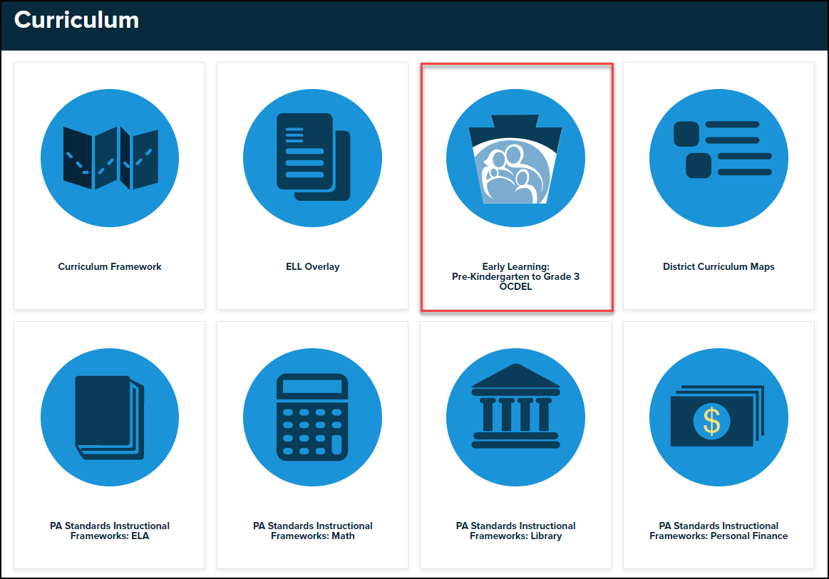curriculum menu with early learning button highlighted