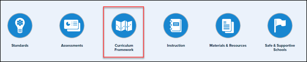 curriculum framework icon highlighted at the bottom of the SAS homepage