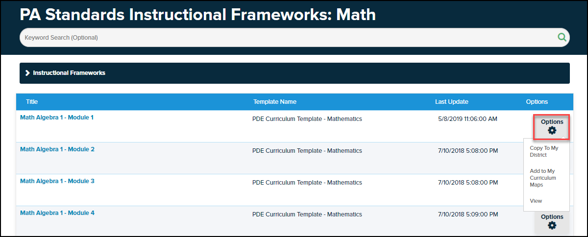 instructional frameworks screen with options button highlighted