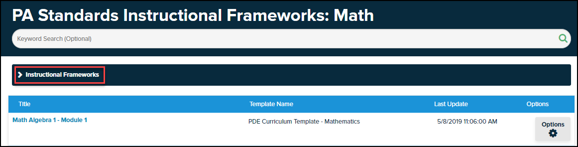instructional frameworks button highlighted