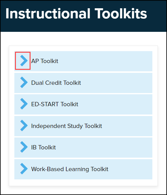 instructional toolkits menu with drop down arrow highlighted