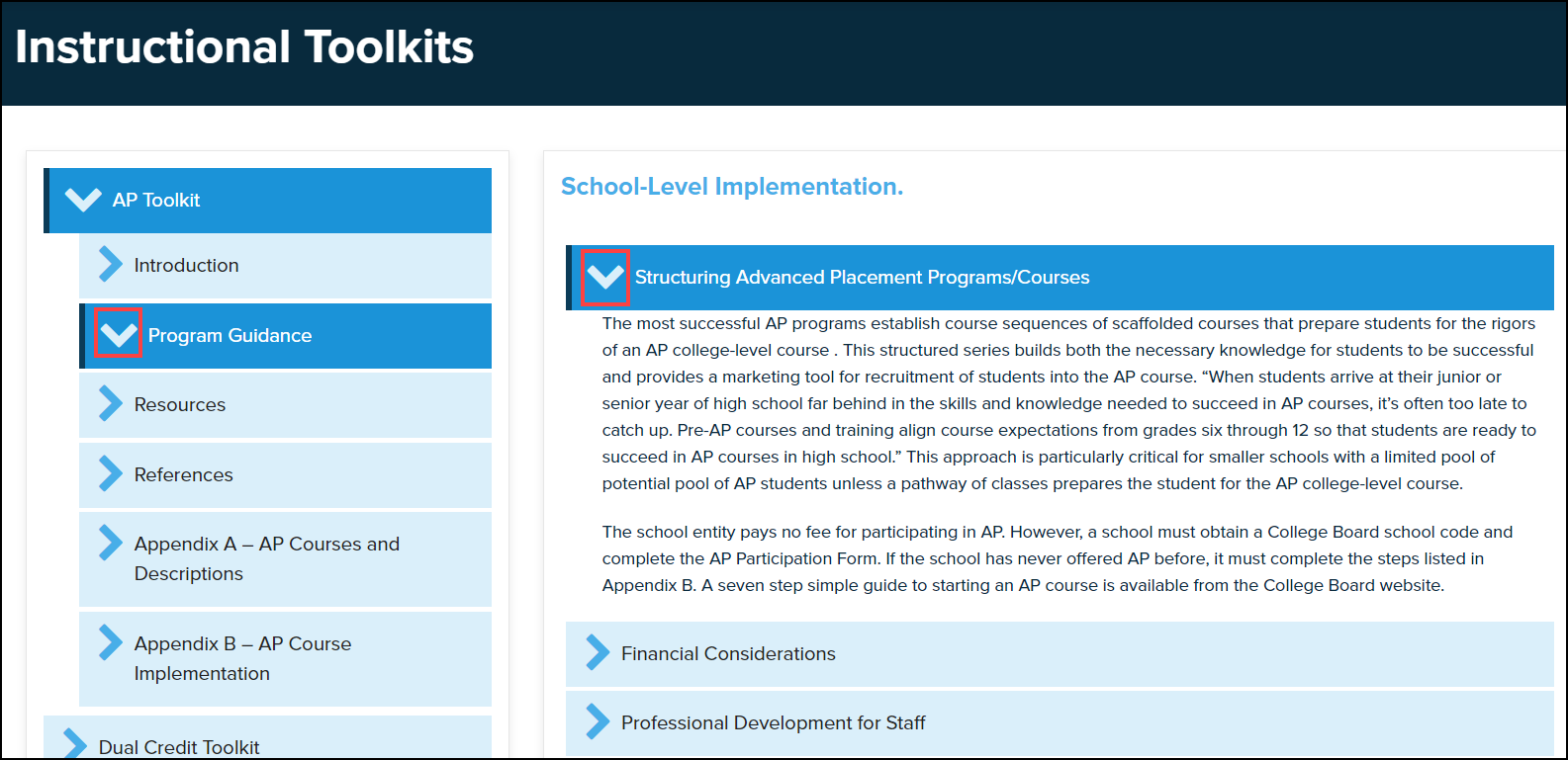 instructional toolkits menu with drop down arrows highlighted within a topic