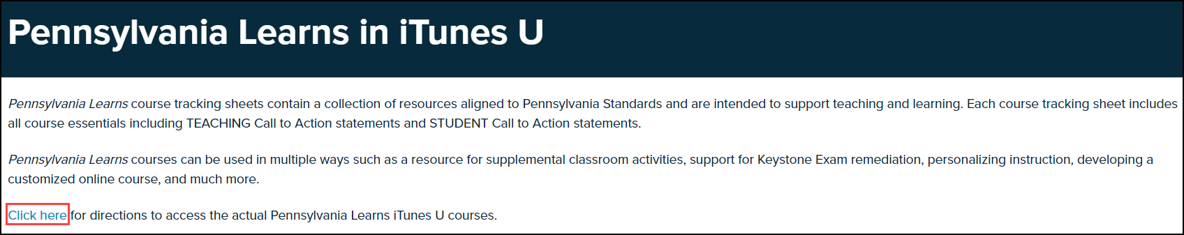 pennsylvania learns in I tunes U screen with click here button highlighted