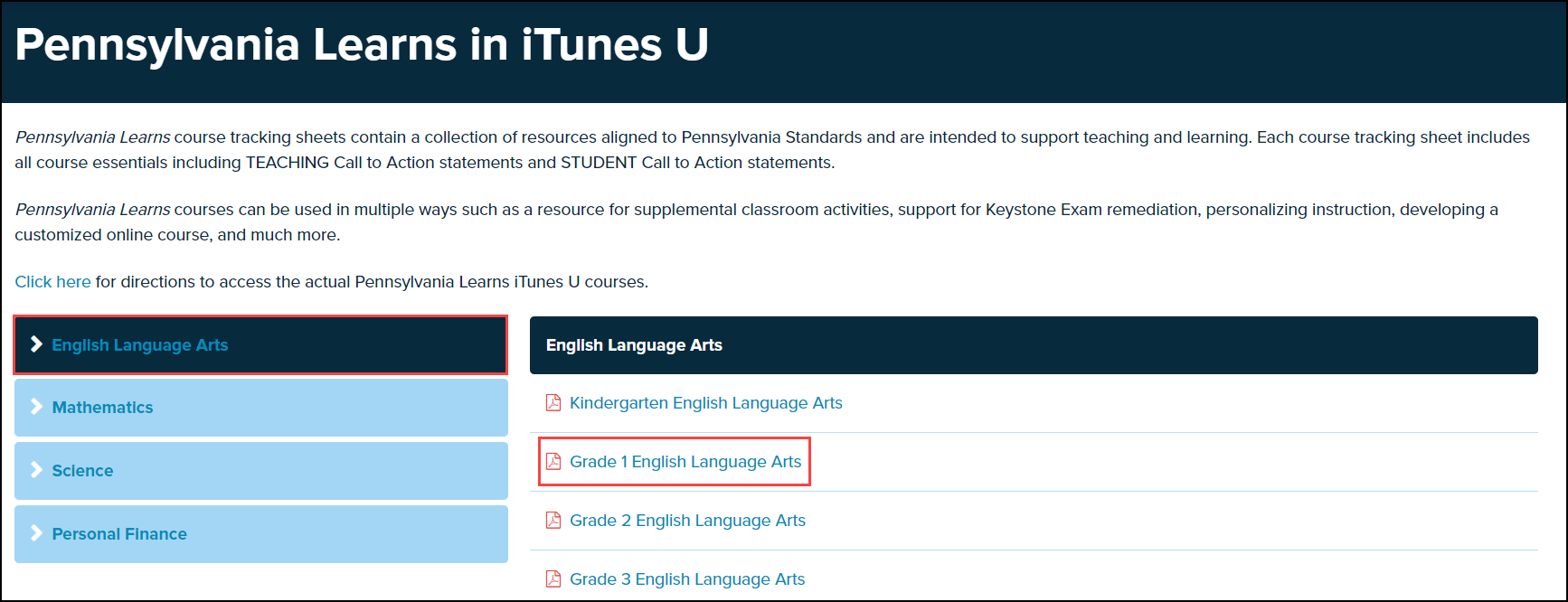 pennsylvania learns in I tunes U screen with subject and document highlighted