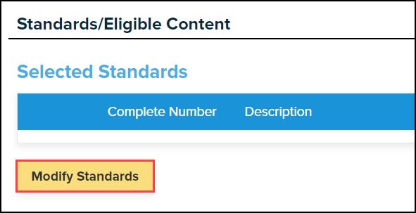 my lessons standards and eligible content screen with modify standards button highlighted