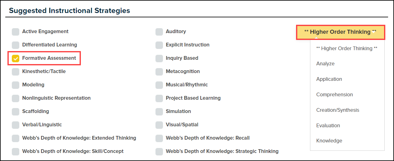 suggested instructional strategies menu with formative assessment checkbox and higher order thinking buttons highlighted