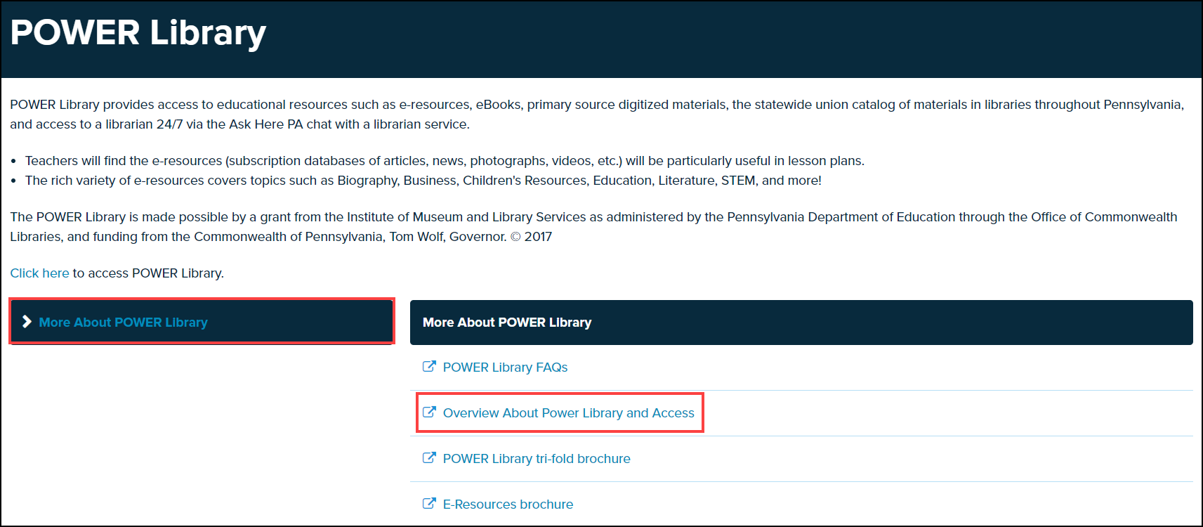 power library screen with topic and document highlighted