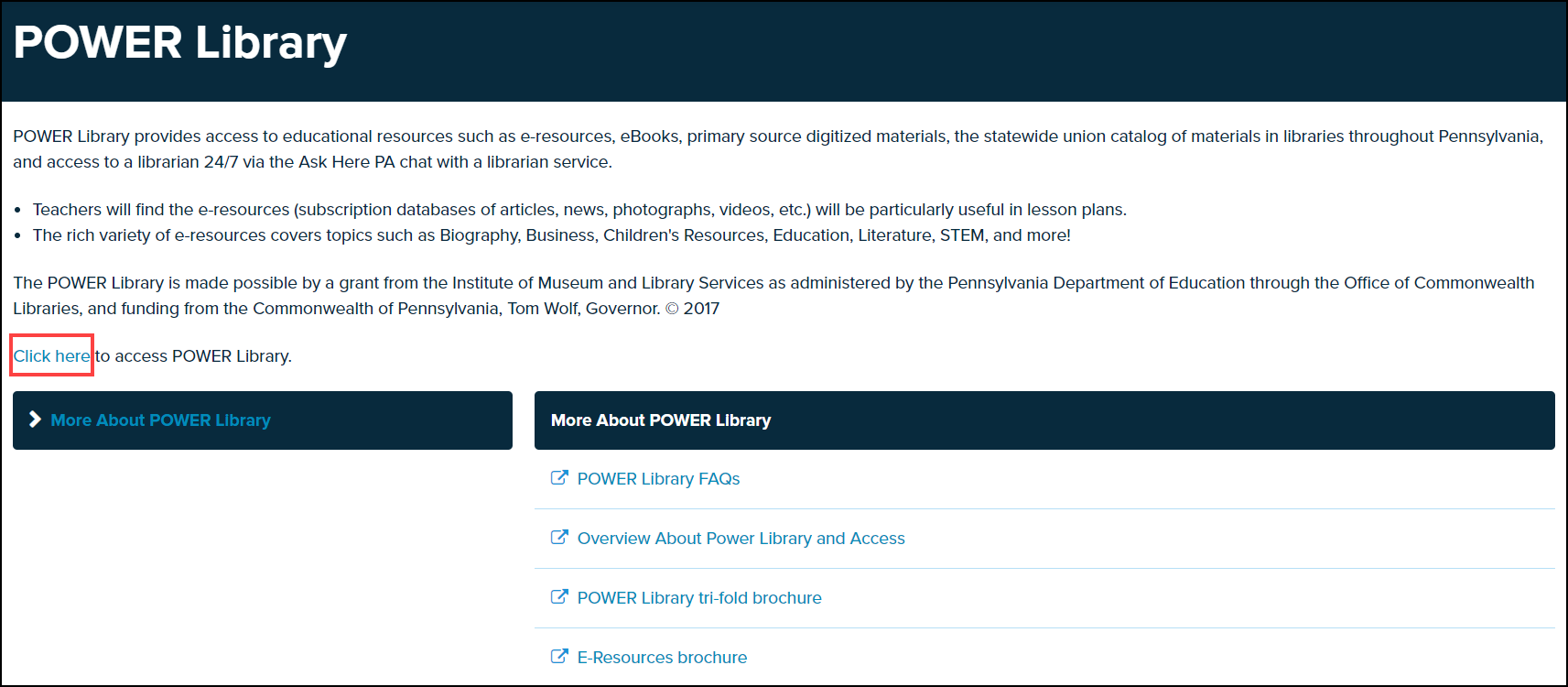 power library screen with click here link highlighted
