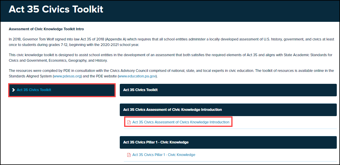 act 35 civics toolkit screen with topic and document highlighted