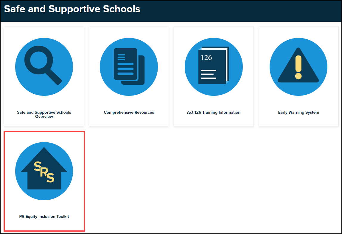 safe and supportive schools menu with P A equity inclusion toolkit button highlighted