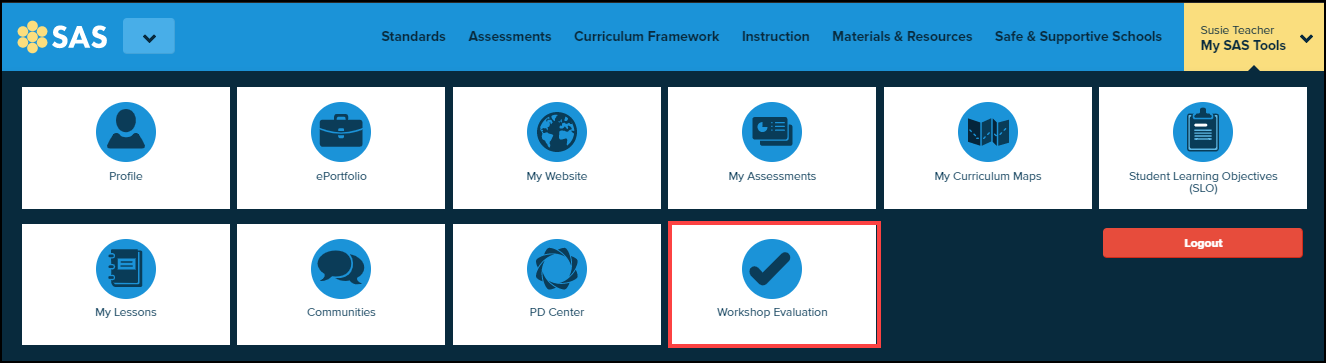 my SAS tools menu expanded and workshop evaluation button highlighted
