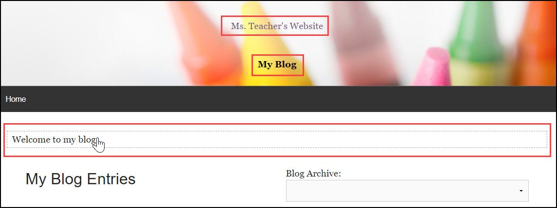my blog page with editable text boxes highlighted