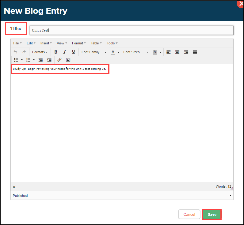 blog entry text editor box with title, editable text, and save button highlighted