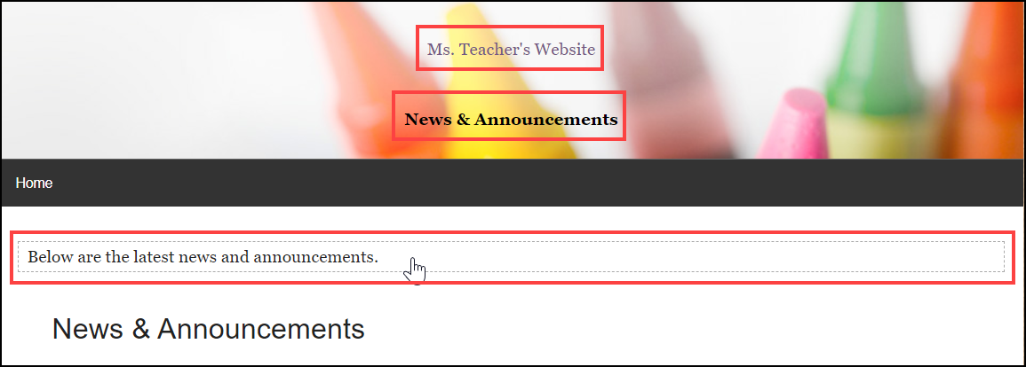 news and announcements page with editable text boxes highlighted