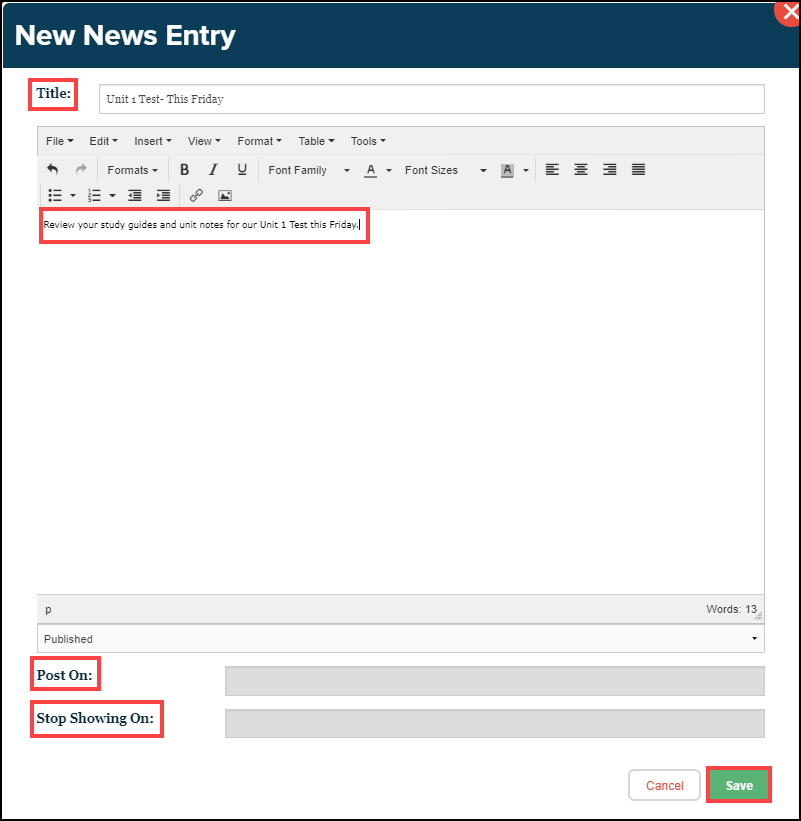 news entry text editor box with title, editable text, post on, stop showing on, and save button highlighted