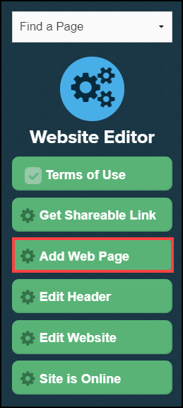 website editor sidebar menu with add web page button highlighted