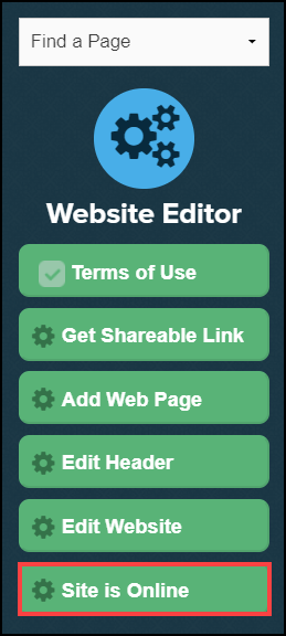 website editor sidebar menu with site is online button highlighted