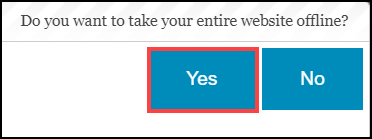 website status display with yes button highlighted