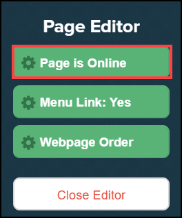 page editor sidebar menu with page is online button highlighted