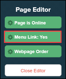 page editor sidebar menu with menu link button highlighted