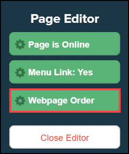 page editor sidebar menu with webpage order button highlighted