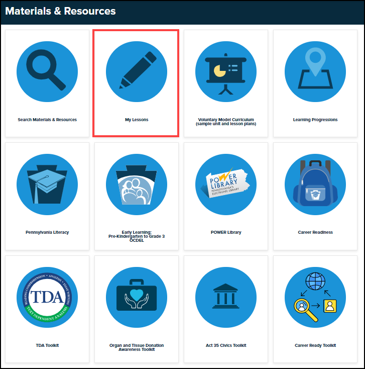 materials and resources menu with my lessons button highlighted