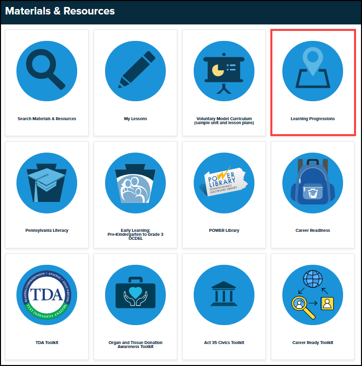 materials and resources menu with learning progressions button highlighted