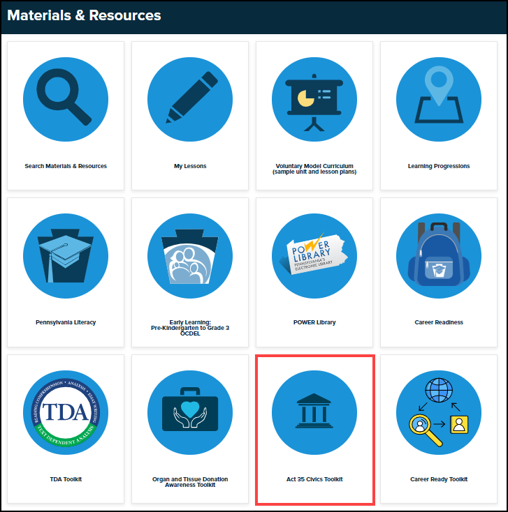 materials and resources menu with act 35 civics toolkit button highlighted