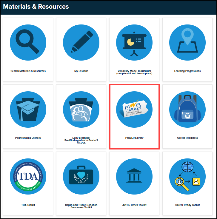 materials and resources menu with power library button highlighted