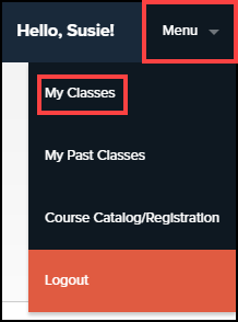P D center menu button highlighted and expanded with my classes button highlighted