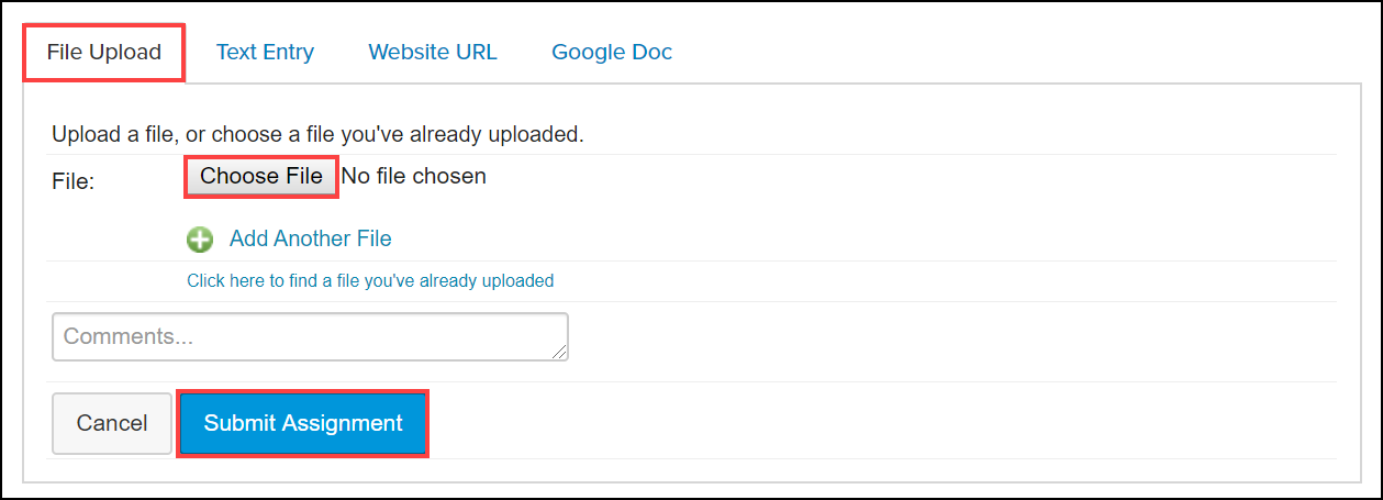 submit assignment file upload screen with file upload tab and choose file and submit assignment buttons highlighted