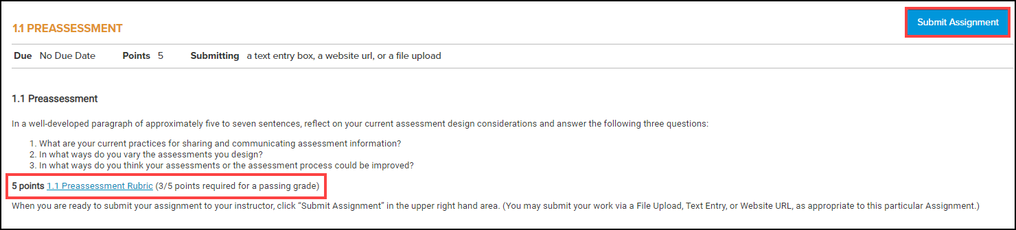assignment screen with point value, scoring rubric, and submit assignment button highlighted