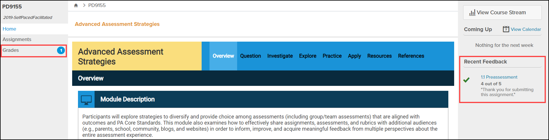 course page with grades and recent feedback highlighted
