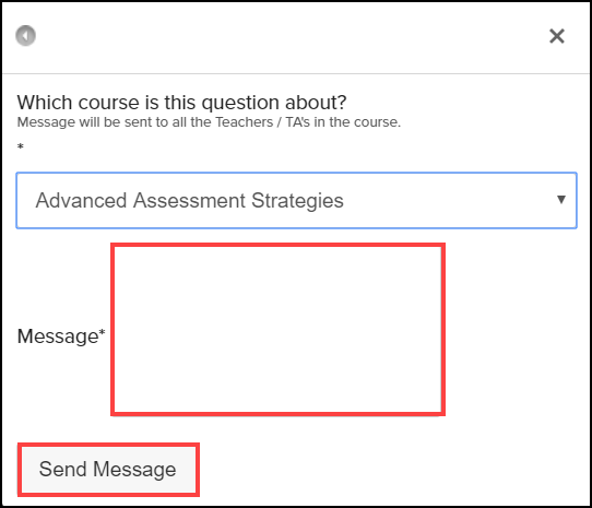 ask your instructor a question screen with text box and send message button highlighted