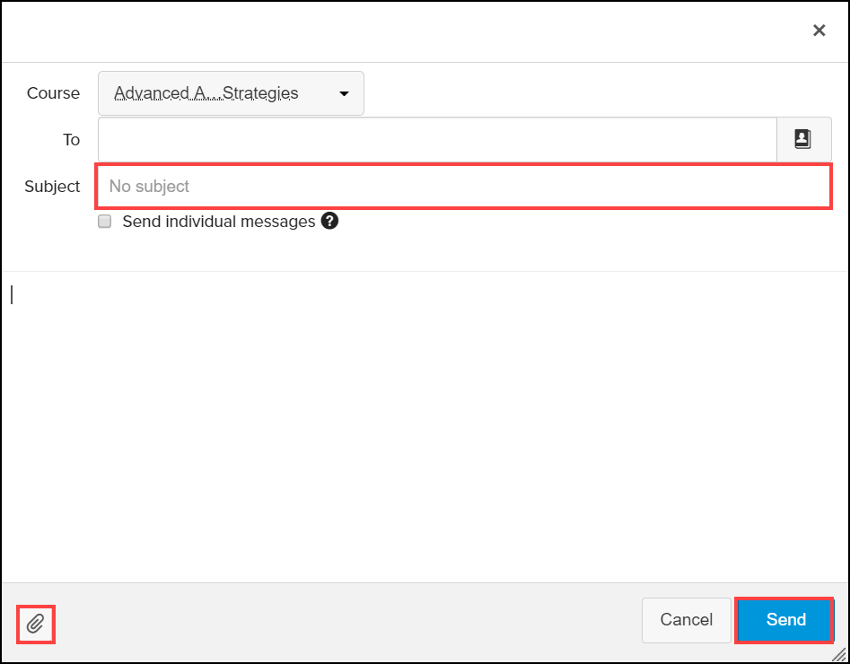 new message windown with subject line, attachment icon, and send button highlighted