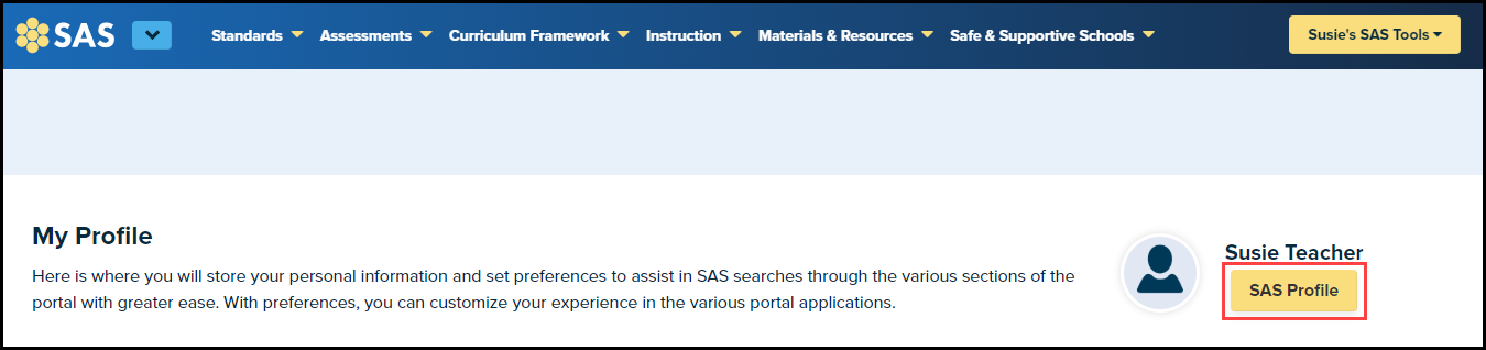 My Profile page with SAS Profile button highlighted