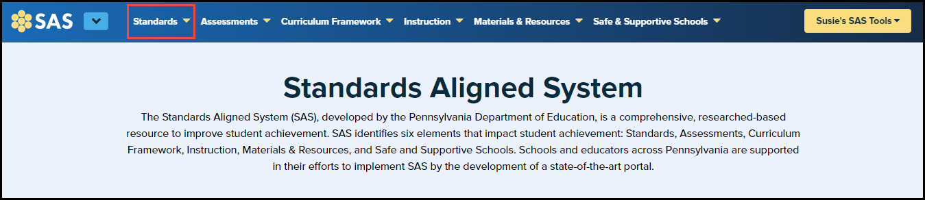 SAS homepage with standards button highlighted