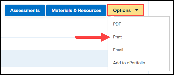 standards search results with options button highlighted revealing a drop down list including P D F, print, email, and add to e portfolio
