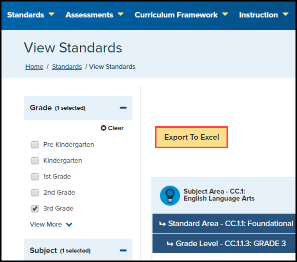 standards search results with the Export To Excel button highlighted