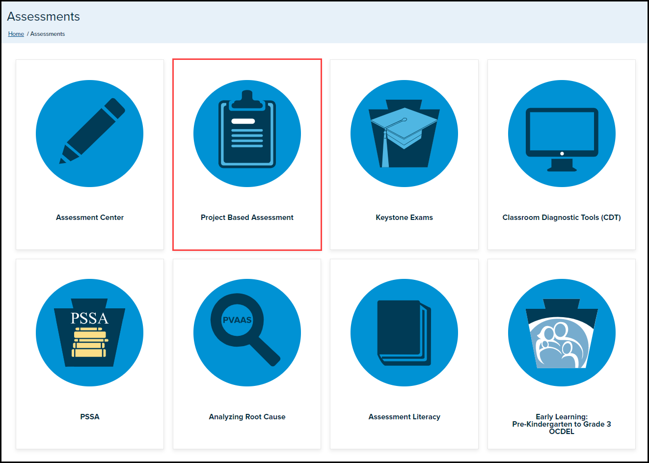 SAS Assessments menu page with Project Based Assessment button highlighted