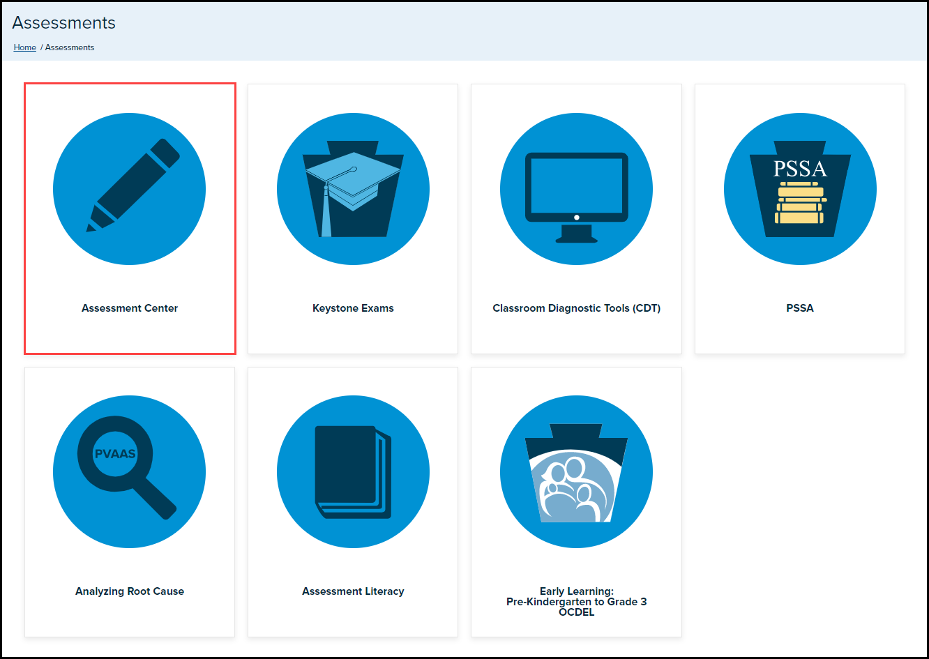 assessments page with assessment center button highlighted